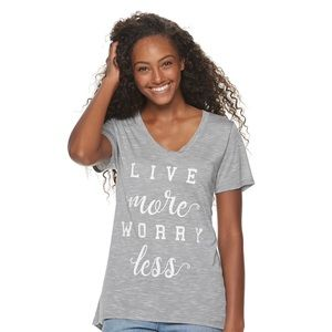 LIVE MORE WORRY LESS T Shirt-NWT-Women's SMALL